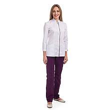 Медицинский женский костюм Сакура белый-фиолетовый 40-54