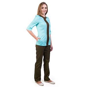 Медичний жіночий костюм Астра м'ята-шоколад 40 розмір, фото 2