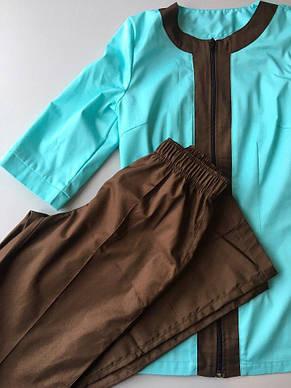 Медичний жіночий костюм Астра м'ята-шоколад 40 розмір, фото 3