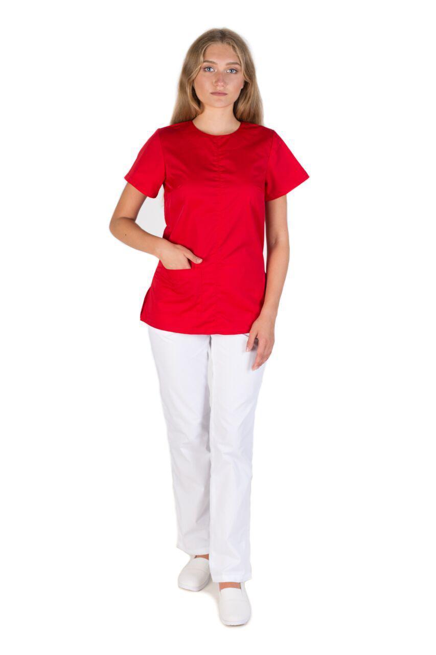 8313c24a662 Медицинский женский костюм Жасмин красный-белый - Exclusive в Хмельницком