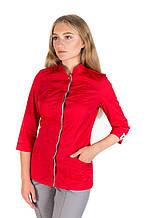 Медицинский женский костюм Сакура красный-серый 40-54