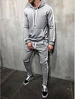 Мужской спортивный зимний костюм с флисом серый
