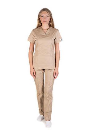 Медицинский котоновый женский костюм Топаз песок, фото 2