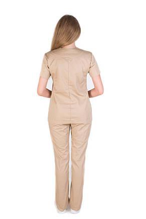 Медицинский котоновый женский костюм Топаз песок, фото 3