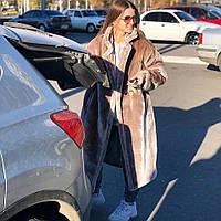 Женская длинная кроличья шуба-пальто из искусственного меха tez182026