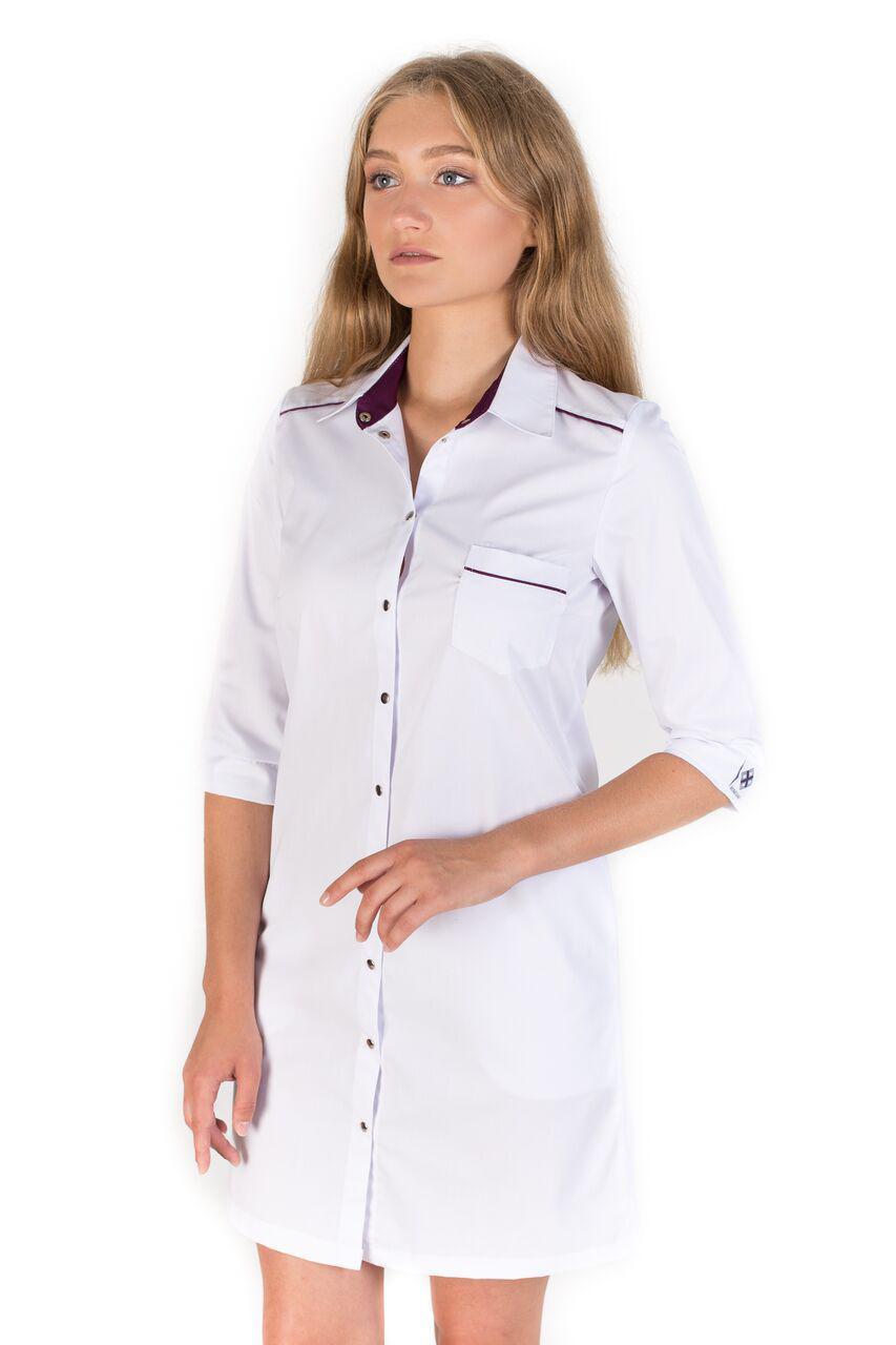Медичний жіночий халат Манхеттен білий-фіолетовий