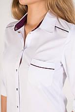 Медичний жіночий халат Манхеттен білий-фіолетовий, фото 2
