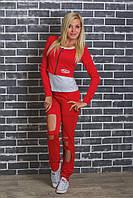 Женский спортивный костюм тройка красный