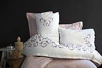 Pupilla элитное постельное белье евро-размера сатин с вышивкой (капучино) Weronika