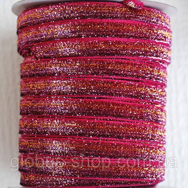 Бархатная лента, 10 мм малиново-золотая