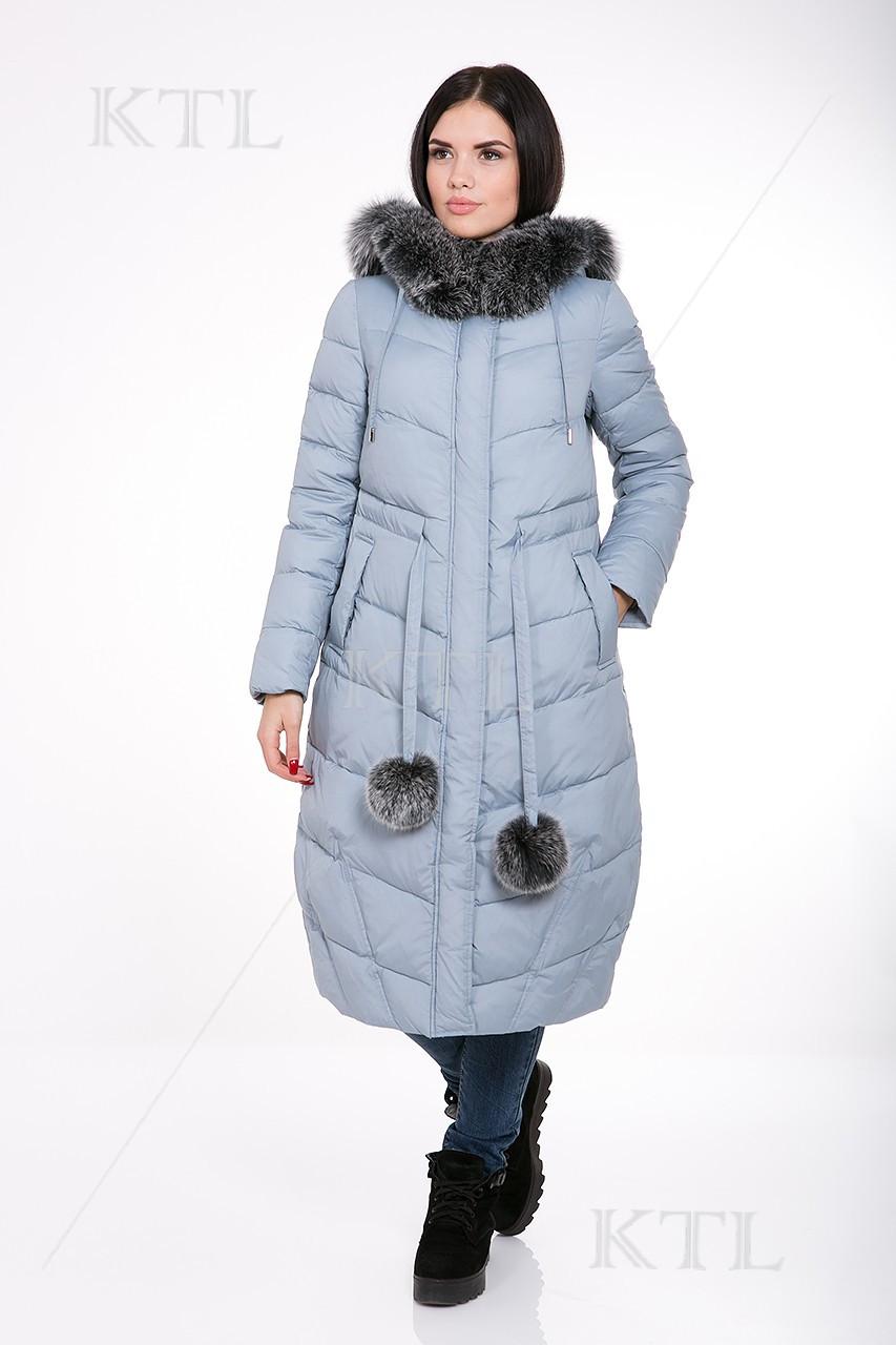Зимний женский пуховик Clasna CW16D205CF голубой (520)  по скидке