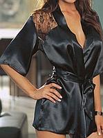 Элегантный халат из атласной ткани с кружевами, черный цвет, размер S (EU36, RUS42), фото 1