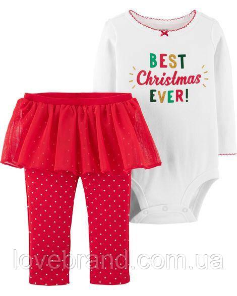"""Новогодний набор для девочки Carter's (США) , боди + штанишки-пачка """"Best Christmas Ever"""" 6 мес/61-67 см"""