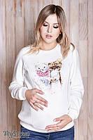 Свитшот для беременных и кормления BLINK PETS, из трикотажа трехнитка с начесом, молочный