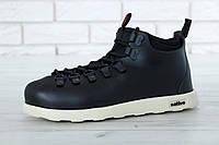 Зимние мужские кроссовки Native реплика ААА+ (термо подкладка) р. 41-45 черный (живые фото)