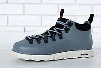 Зимние мужские кроссовки Native реплика ААА+ (термо подкладка) р. 41-45 серый (живые фото)