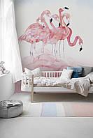 """Фотообои на стену """"Акварельные фламинго"""""""