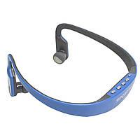☞Мощные спортивные наушники Lesko TX-508 Синие для пробежек тренировок с аккумулятором MP3 FM