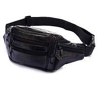 Кожаная сумка на пояс бананка поясная барсетка через плечо мужская женская барыжка черная натуральная кожа