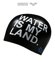 Силиконовая шапочка для плавания Arena Poolish Moulded Water Is My Land  (Black), фото 1