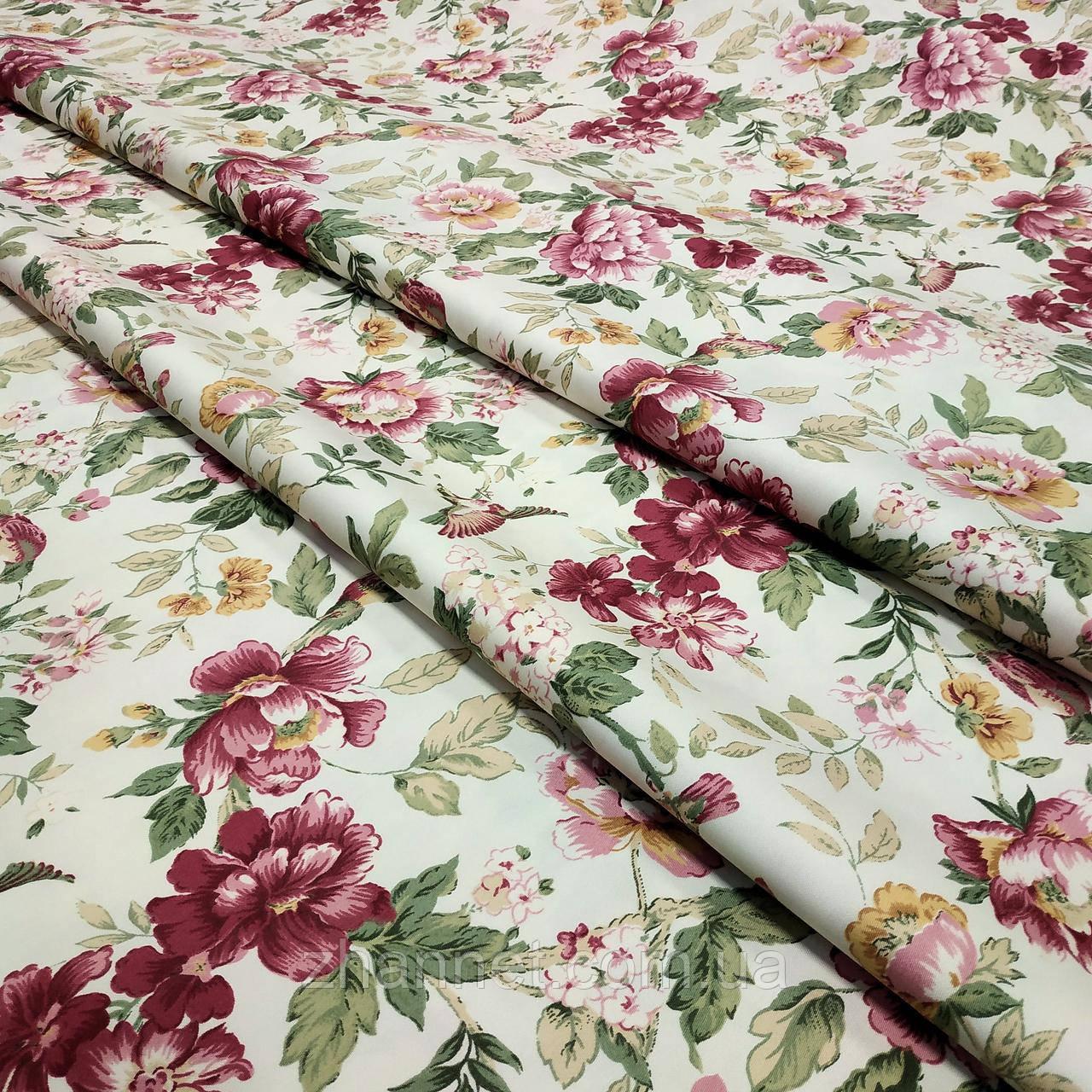 Тканина для штор Елен квіти бордовий 280 см (87286)