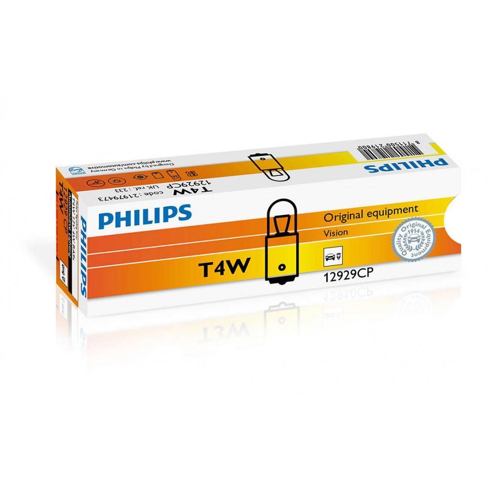 Лампа накаливания Philips T4W, 10шт/картон 12929CP