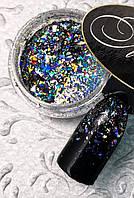 Втирка для маникюра «Хлопья Юки » серебро голографик