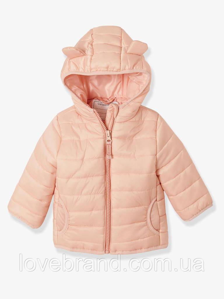 Демисезонная курточка для девочки Vertbaudet (ФРАНЦИЯ) пудра с ушками  на годик и два
