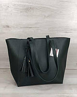 Зеленая сумка-шоппер 54348 на плечо матовая большая корзина, фото 1