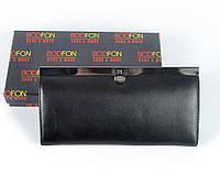 Женский кошелек из натуральной кожи черного цвета