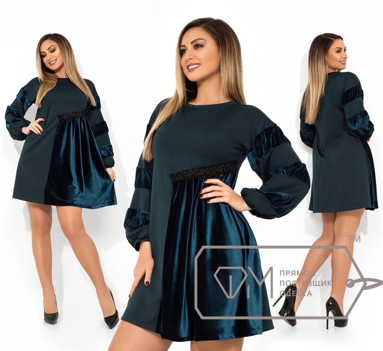 Платье с бархатными вставками, батал