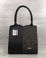 Дамская ручная сумка саквояж женская черная с золотистой вставкой, фото 1