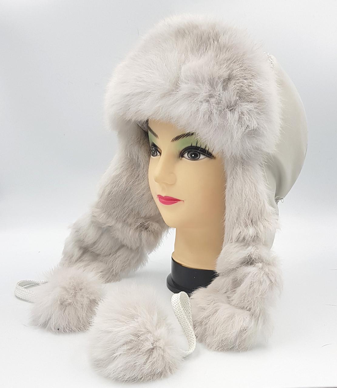 Зимняя женская шапка-ушанка Klaus Кролик 55-58 Светло-серая (017/1)