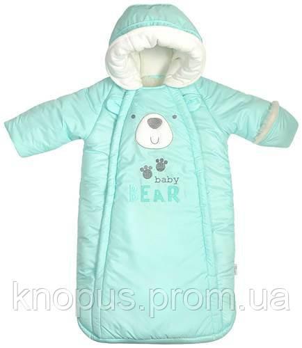 Конверт для новорожденного на овчине с ручками, голубой,  Garden baby