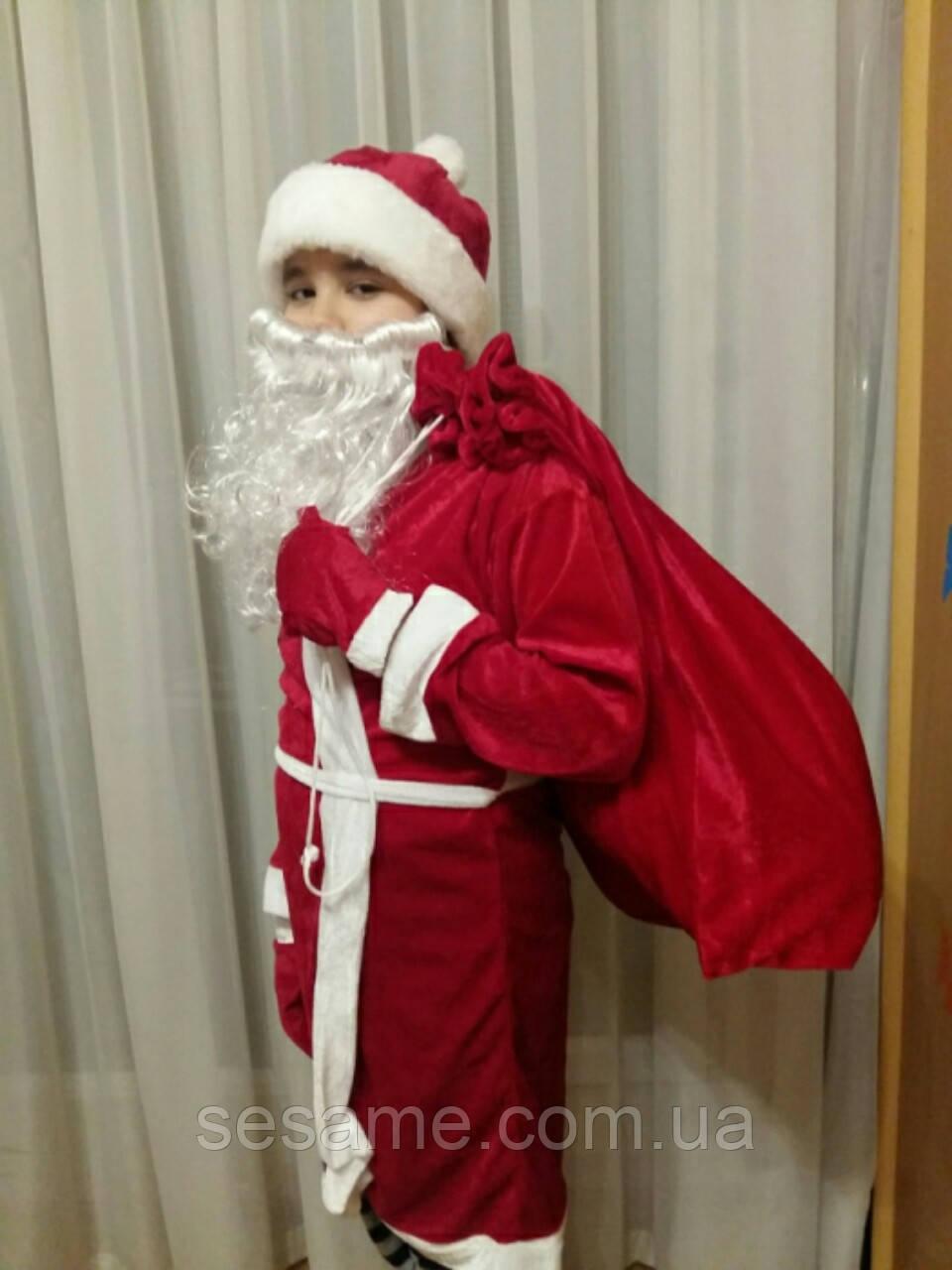 Детский новогодний костюм Дедушка Мороз стрейч-велюр