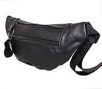 Кожаная сумка на пояс бананка SW 8683 черная поясная барсетка через плечо мужская женская барыжка кожа, фото 1