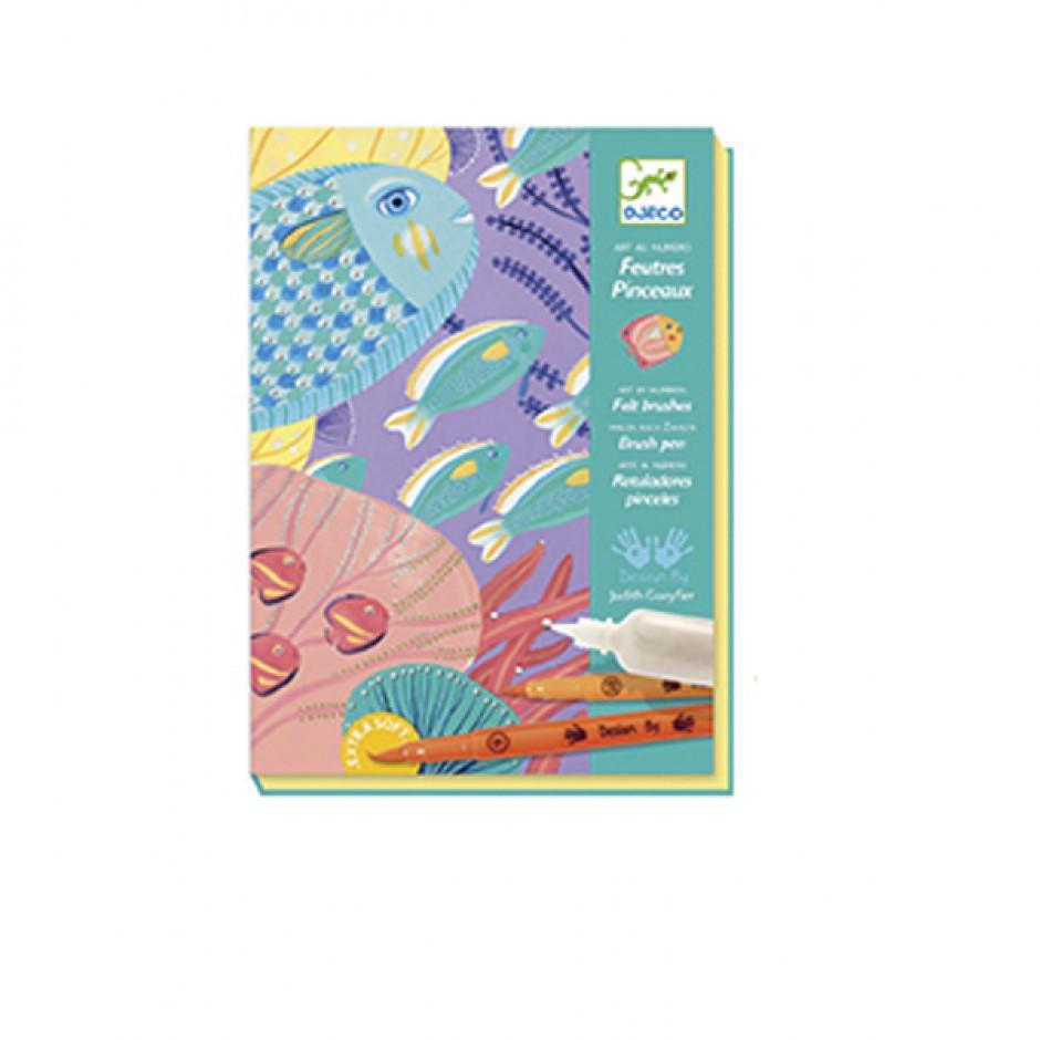 """DJECO Художественный комплект для рисования кистями """"Под водой"""""""