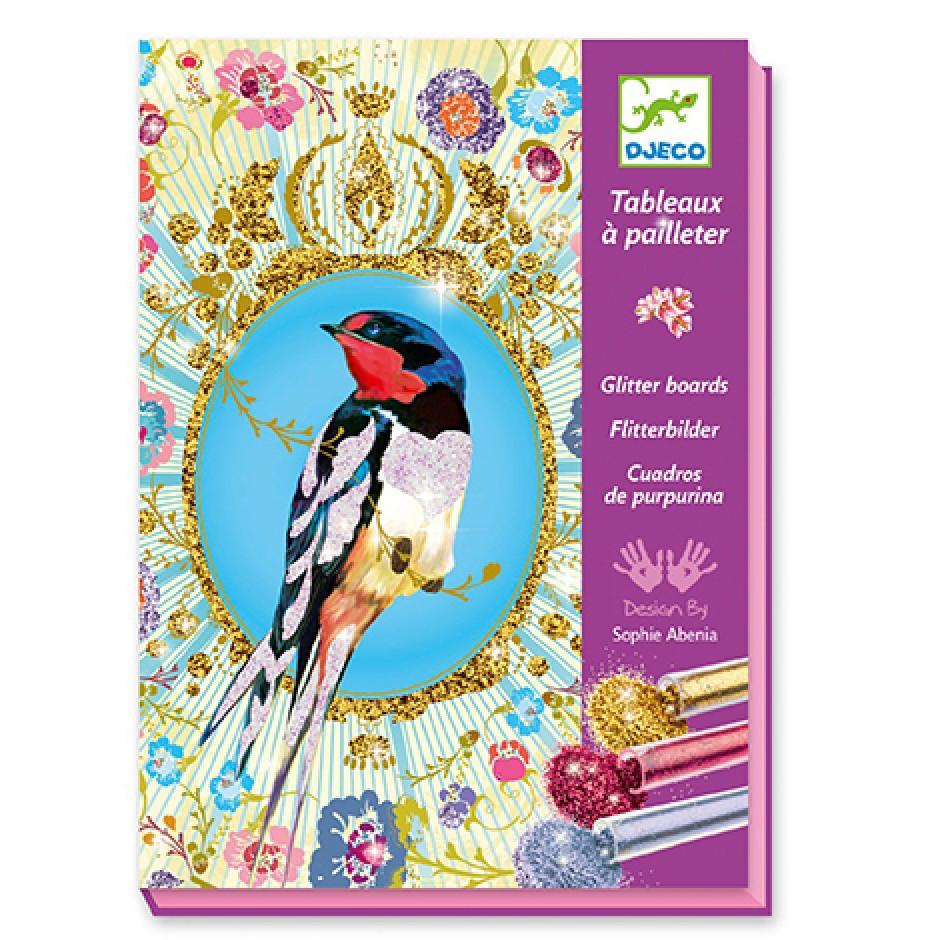 """DJECO Художній комплект малювання блискітками """"Птахи з блискітками"""""""