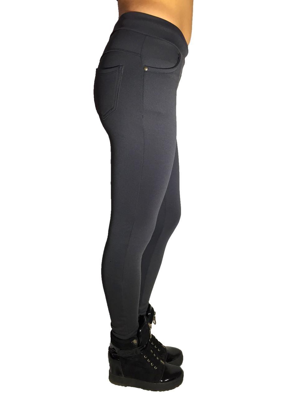 Женские брюки № 151 дайвиг-начес серые НОРМА