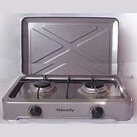 2-хконфорочная плитка verelly tc-2(x), газовая, настольная, + решетка, 2 регулятора пламени, защитная крышка