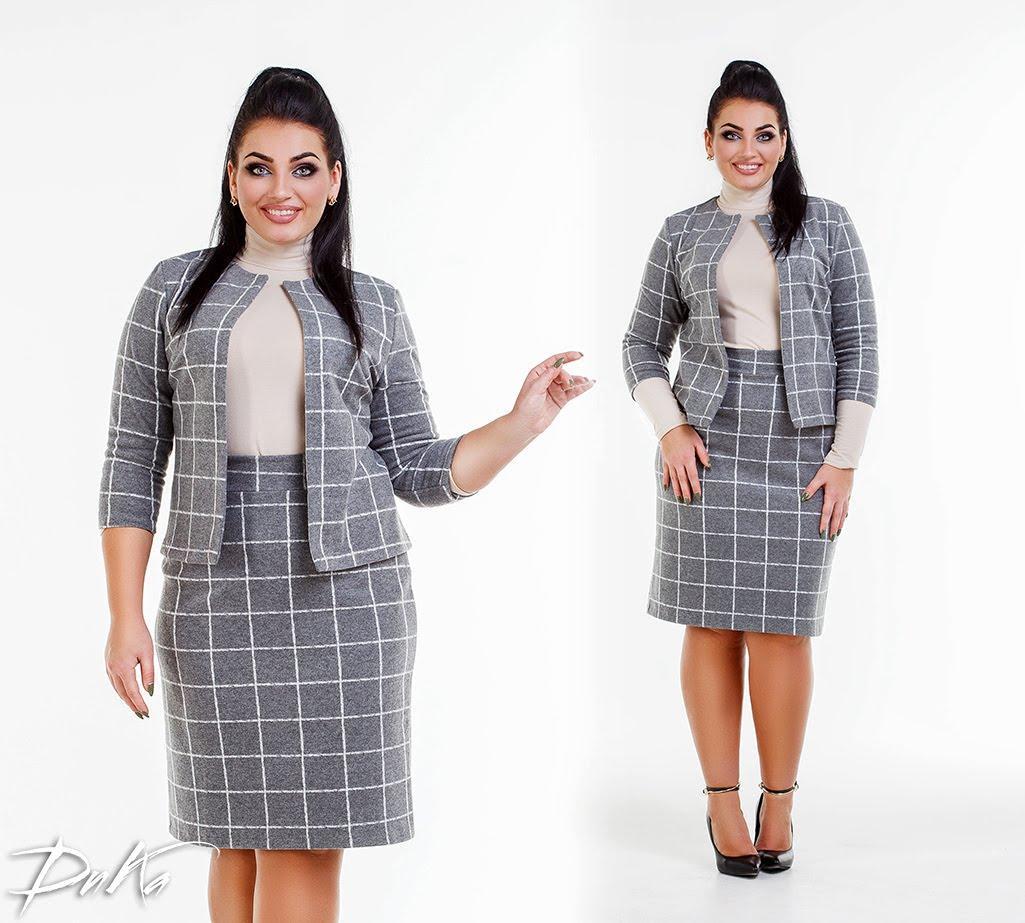Батальный костюм юбка + жакет