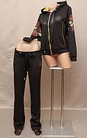 Спортивный костюм чёрный женский Турция с цветочным принтом на змейке накат новинка