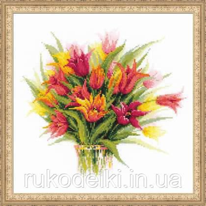 Тюльпаны риолис вышивка ткань с росписью купить