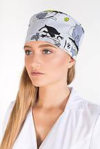 Медицинская шапочка принт совы серые