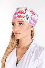 Медицинская шапочка принт фламинго цветные