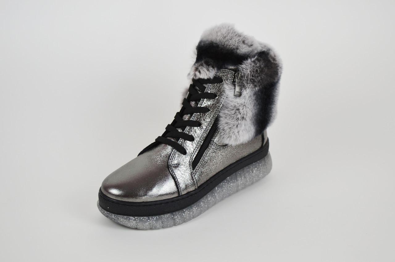 Ботинки серебристые с мехом шиншиллы Ripka 99