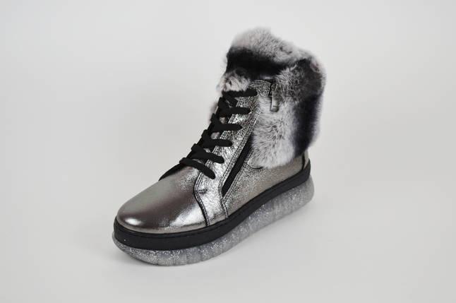 Ботинки серебристые с мехом шиншиллы Ripka 99, фото 2