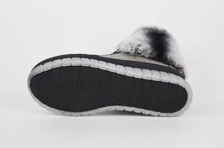 Ботинки серебристые с мехом шиншиллы Ripka 99, фото 3
