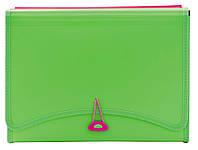 """Папка с файлами """"Leo"""" 13 отделений+2 кармана (260х138мм) неоновый зеленый L6142"""
