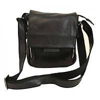 Мужская кожаная сумка 1420 Black flotar. Сумка мужская натуральная кожа. Сумка через плечо.